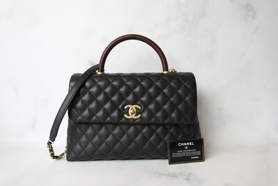 Chanel Coco Handle Large, Black Caviar with Burgundy Handle and Gold Hardware, Preowned in Box WA001