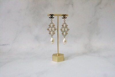 Chanel Earrings Long Dangles with Crystal and Pearl, New in Box