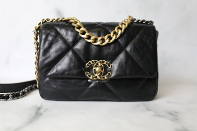 Chanel 19 Classic, Black Goatskin, New in Box WA001