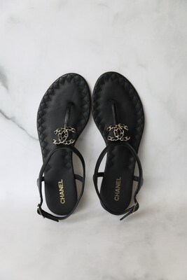 Chanel Thong Sandals, Black with Chain CC, Size 36, Preowned in Box WA001