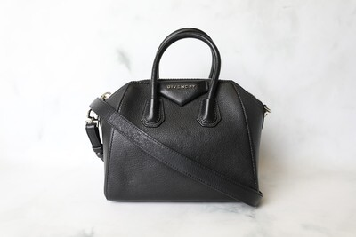 Givenchy Antigona Mini, Black Goatskin with Silver Hardware, Preowned in Dustbag WA001