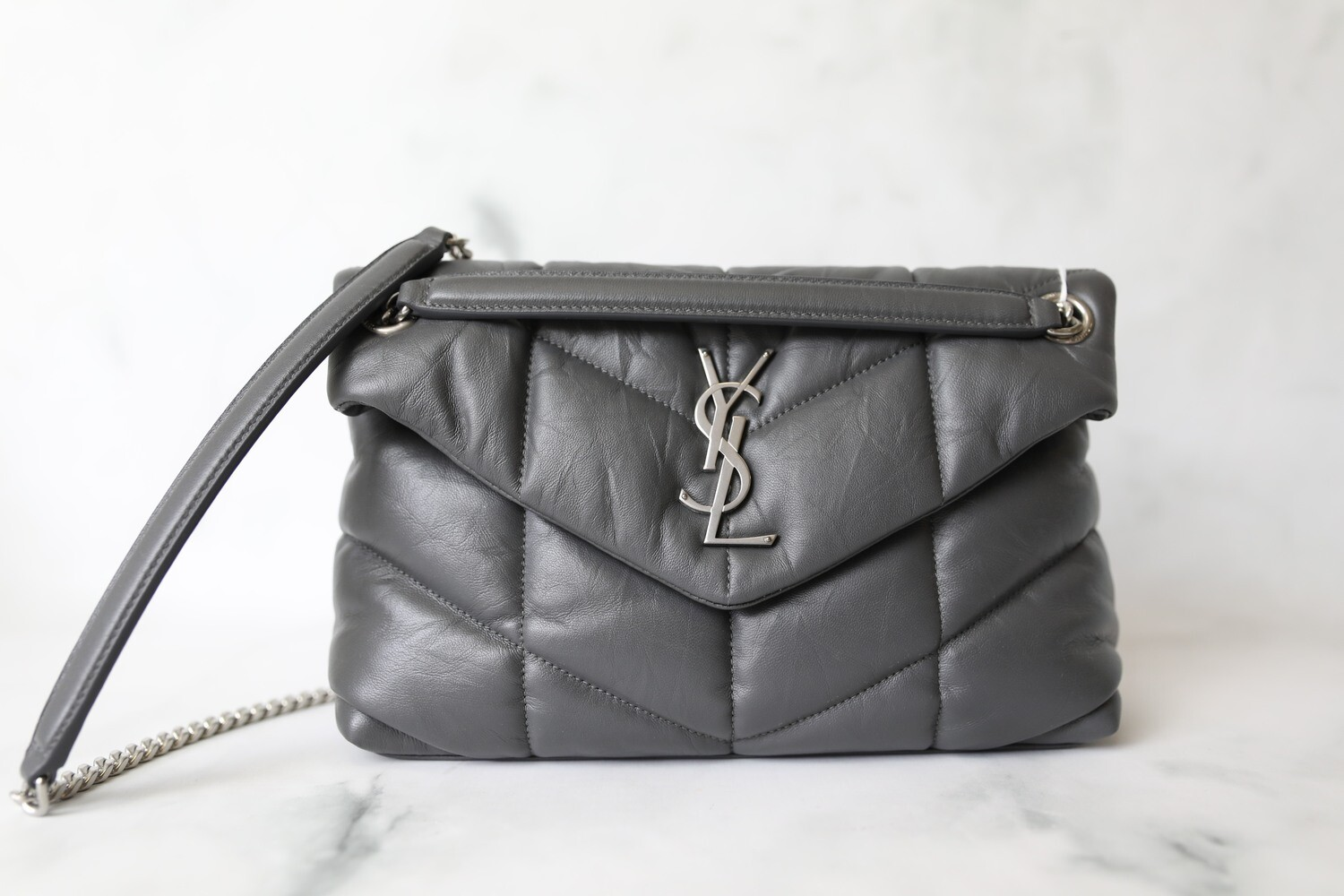 Saint Laurent Lou Lou Puffer Small, Gray with Silver Hardware, Preowned in Dustbag WA001