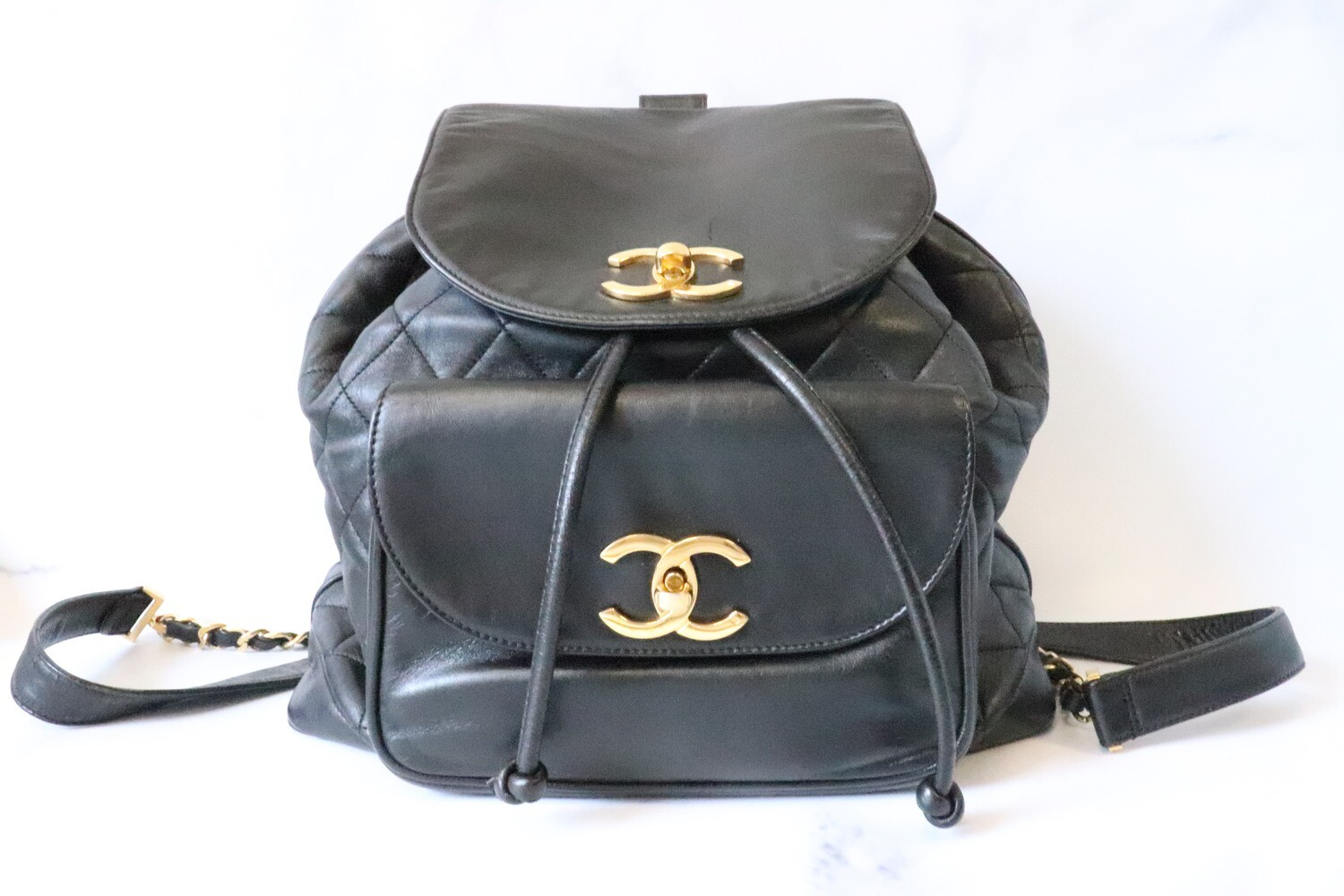 Chanel Vintage Backpack Black Lambskin Leather, Gold Hardware, Preowned - No Dustbag