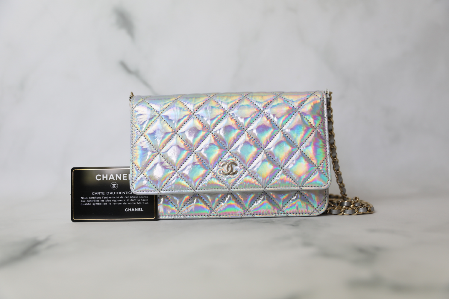 Chanel Classic Wallet on Chain, Silver Iridescent Goatskin, New in Box
