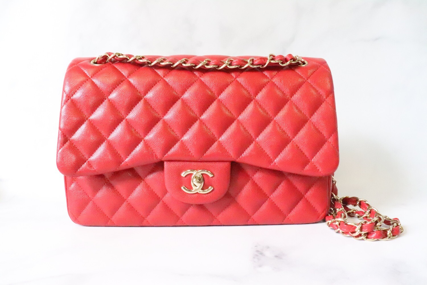 Chanel Classic Jumbo Double Flap Red Caviar Leather, Gold Hardware, Preowned in Box