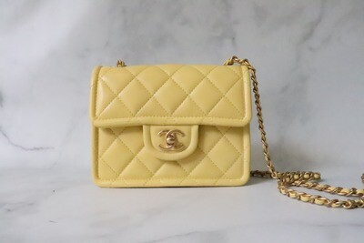 Caviar Seasonal Quilted Mini Sweet Classic Flap,  Yellow Caviar Leather, Brushed Gold Hardware, New in Box