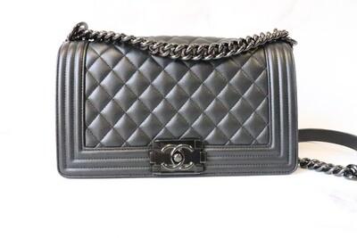 Chanel Boy Old Medium Black Caviar Leather, So Black Hardware, Preowned in Box