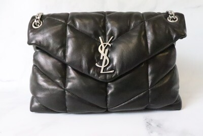 Saint Laurent Loulou Puffer, Black in brushed silver hardware, New in dustbag