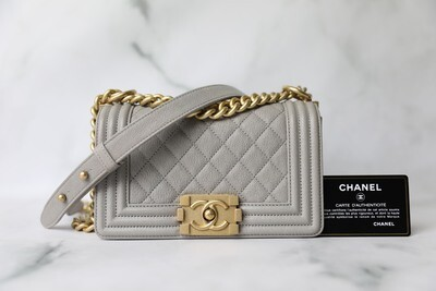 Chanel Boy Small, Grey Caviar with Gold Hardware, Preowned in Box WA001