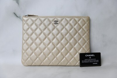 Chanel O Case, Iridescent Pearl Lambskin with Ruthenium Hardware, Preowned in Box WA001