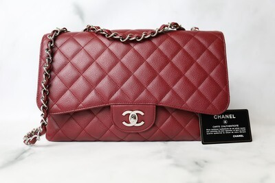 Chanel Classic Jumbo Single Flap, Red Caviar with Silver Hardware, Preowned in Dustbag WA001