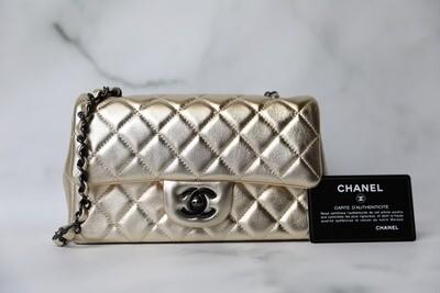 Chanel Classic Mini Rectangular, Gold Lambskin with Ruthenium Hardware, New in Box WA001