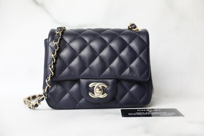 Chanel Classic Mini Square, Navy Lambskin with Light Gold Hardware, As New in Box WA001