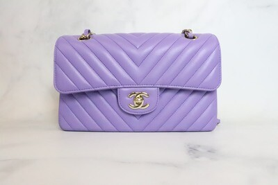 Chanel Classic Small Double Flap Violet Lambskin Leather, Gold Hardware, Preowned in Box