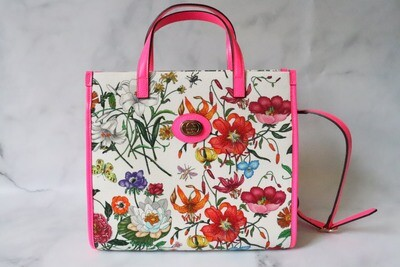 Gucci Floral Tote Pink Trim, New in Dustbag