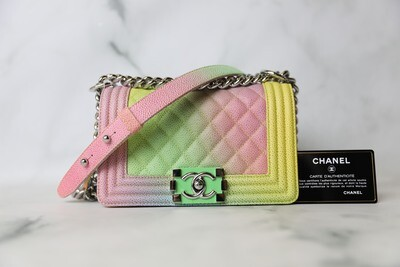 Chanel Boy Small, Rainbow Caviar with Silver Hardware, Preowned in Dustbag WA001