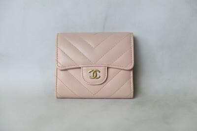 Chanel SLG Snap Wallet, Pink Calfskin with Gold Hardware, Preowned in Box WA001