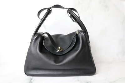 Hermes Lindy 34, Black Swift with Palladium Hardware, Preowned in Box WA001