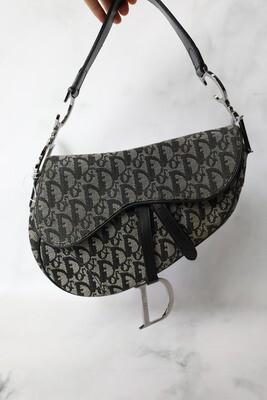 Christian Dior Saddle Vintage, Black Monogram Canvas, Preowned in Dustbag WA001