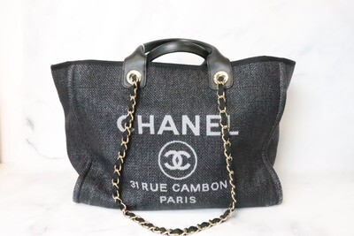 Chanel Deauville Large, Navy Raffia, Preowned in Dustbag