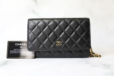 Chanel Classic Wallet on Chain, Black Caviar with Gold Hardware, New in Box WA001