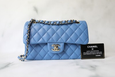 Chanel Classic Small, 21P Blue Caviar with Gold Hardware, New in Dustbag WA001