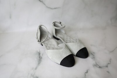 Chanel Flats with Ankle Strap, Grey Suede with Black, Size 38.5, New in Box WA001