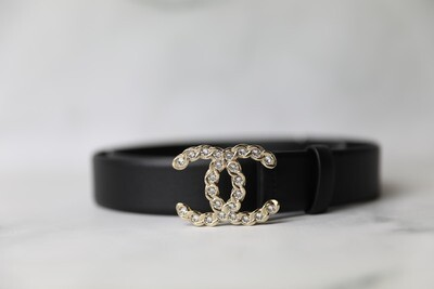 Chanel Belt, Black with Crystal CC Hardware, New in Dustbag WA001