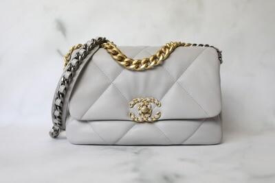 Chanel 19 Classic, 21A Grey Lambskin, New in Box WA001