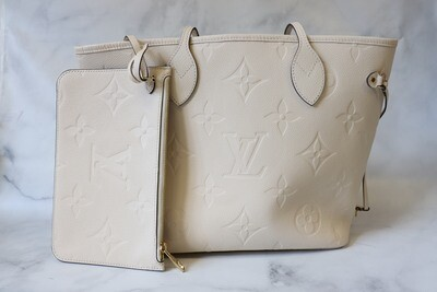 RESERVED Louis Vuitton Neverfull MM Cream, Preowned in Box