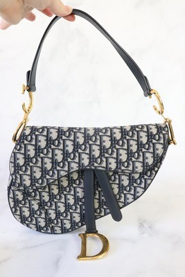 Dior Saddle Navy Obligque, Preowned in Dustbag