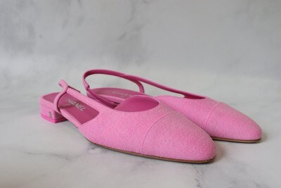 Chanel Shoes, Denim Slingbacks, Pink,  New in Box