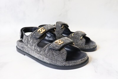 Chanel Shoes Dad Sandals, Light Wash Denim, New in Box