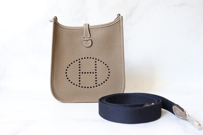 Hermes Evelyne TPM, Taupe with Navy Strap, PHW, New In Box WA001