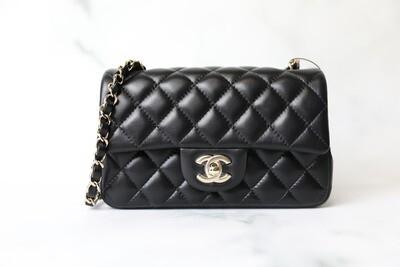 Chanel Classic Mini Rectangular,  Black Lambskin with Light Gold Hardware, New in Box WA001