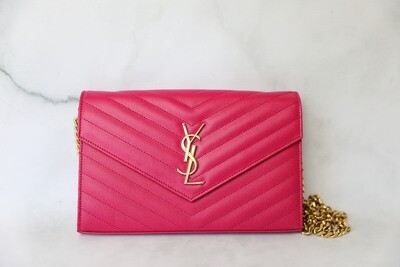 Saint Laurent Wallet on Chain Large, Hot Pink with Gold Hardware, Preowned no dustbag WA001