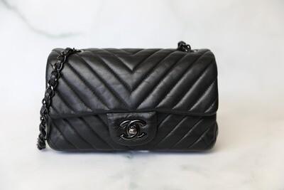 Chanel Classic Mini Rectangular, So Black Lambskin, Preowned in Dustbag WA001