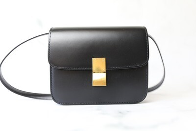 Celine Box Bag Teen, Black with Gold Hardware, Preowned in Dustbag WA001