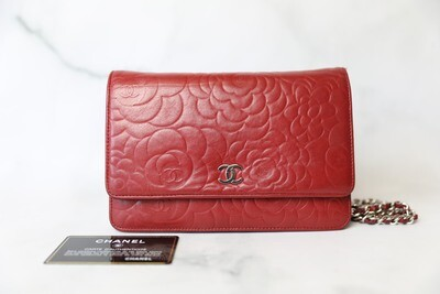 Chanel Camellia Wallet on Chain, Red Lambskin with Silver Hardware, Preowned in Box WA001