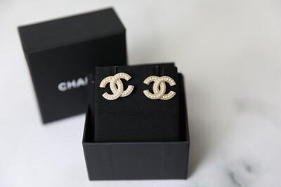 Chanel Earrings Golden Pearl Studs, New in Box WA001