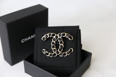 Chanel Brooch, Black Leather Threaded, New in Box WA001