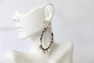 Chanel Earrings Drop Hoop with Black Leather and Pearls, New in Box WA001