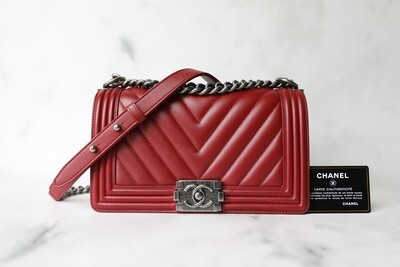 Chanel Boy Old Medium, Red Chevron Calfskin with Ruthenium Hardware, Preowned in Box WA001