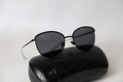 Chanel Sunglasses, Black Polarized, Preowned in Box WA001