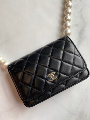 Chanel Pearl Strap, Wallet on Chain, Black Calfskin Leather New in Box