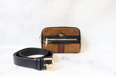 Gucci Ophidia Waist Bag Brown Suede, New in Dustbag