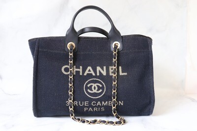 Chanel Deauville, Navy Tweed with Gold, Preowned - No Dustbag