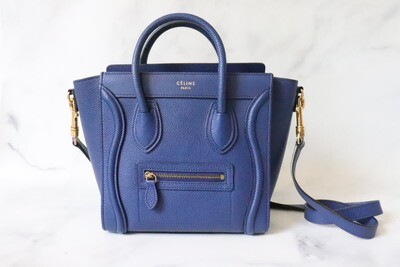 Celine Luggage Nano, Royal Blue Pebbled Leather, Gold Hardware, Preowned - No Dustbag