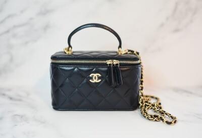 Chanel Top Handle Vanity with Chain, Black, New in Box WA001
