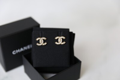 Chanel Stud Earrings, Gold with Crystal Inlay, Preowned in Box WA001